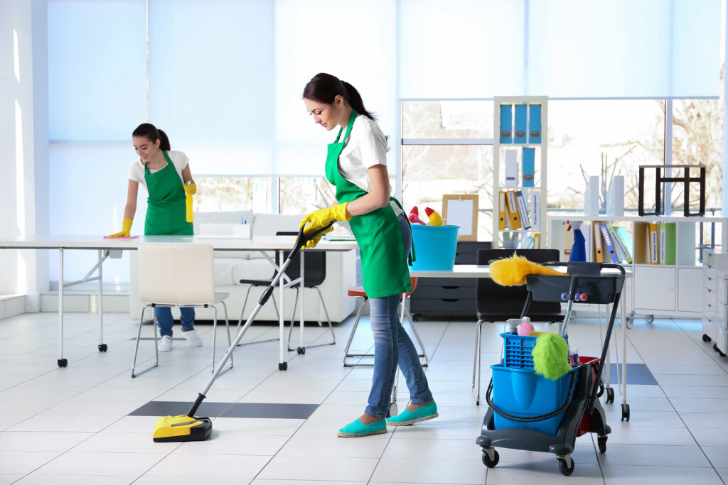 commercial cleaners cleaning office floors